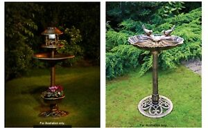 New 3 In 1 Bird Bath With Solar Light Planter Bronze Effect