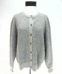 6f9657494b Image is loading WOOLRICH-Cardigan-Sweater-Top-Cream-Blue-Geometric-Button-