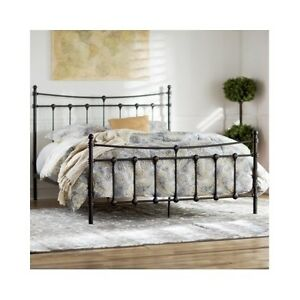 queen size bed frame metal headboard footboard rustic vintage antique victorian ebay. Black Bedroom Furniture Sets. Home Design Ideas