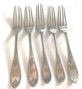 FIVE-7-5-034-Dinner-Forks-ROGERS-Bros-A1-Silverplate-estate-Antique-set-Initials