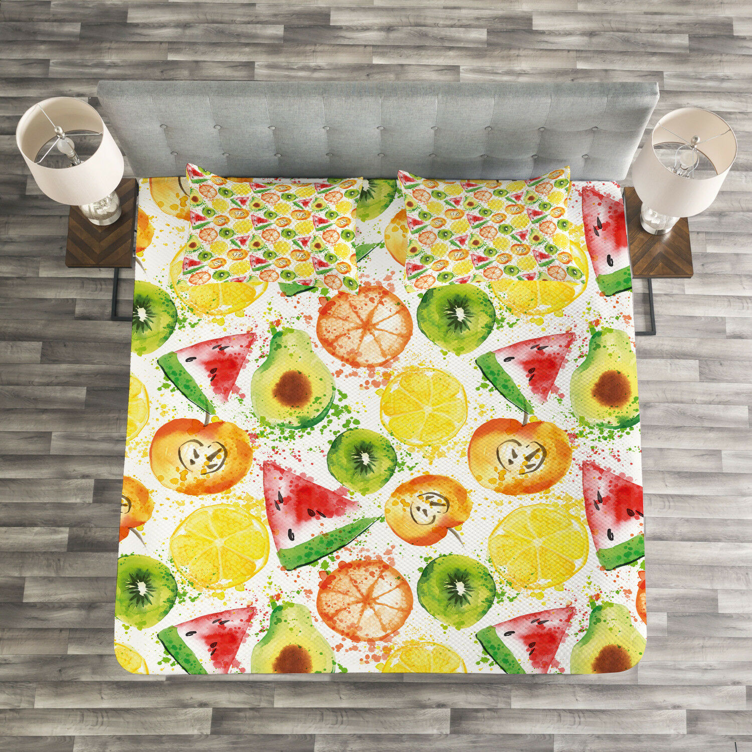 Fruits Quilted Bedspread & Pillow Shams Set, Paintbrush Plants Seed Print