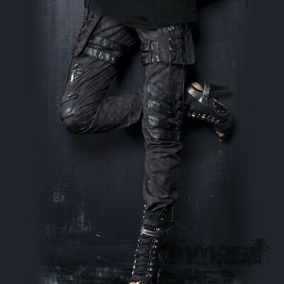 PUNK RAVE COMBAT BONDAGE PANTS - GOTH/GOTHIC/BLACK/ZIPPER/BUCKLE/SKULL - UNISEX