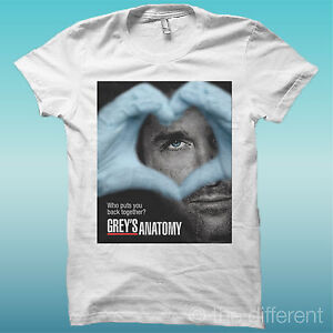 "AgréAble T-shirt "" Grey's Anatomy Heart "" Bianco The Happiness Is Have My T-shirt New"