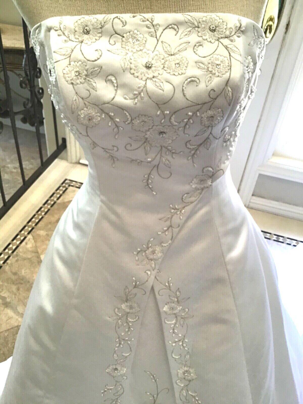 JASMINE Bridal gown Wedding Dress Strapless Corset White satin/Organza 8 New