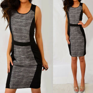 ELLE-Black-Ivory-Striped-Sleeveless-Color-Block-Sheath-Pencil-Dress-10-8-M