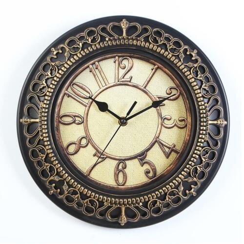 Vintage Round Wall Clock Quartz Silent Clock Home Bedroom Kitchen Decorative