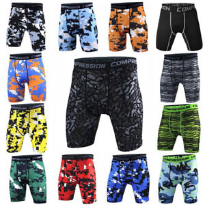 Men's Compression Shorts Gym Workout Boxer Briefs Camo Running Slim fit Tights