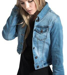 Womens Jean Wash Sleeve Long Stretch Lightweight Bleach Denim Jacket Waist