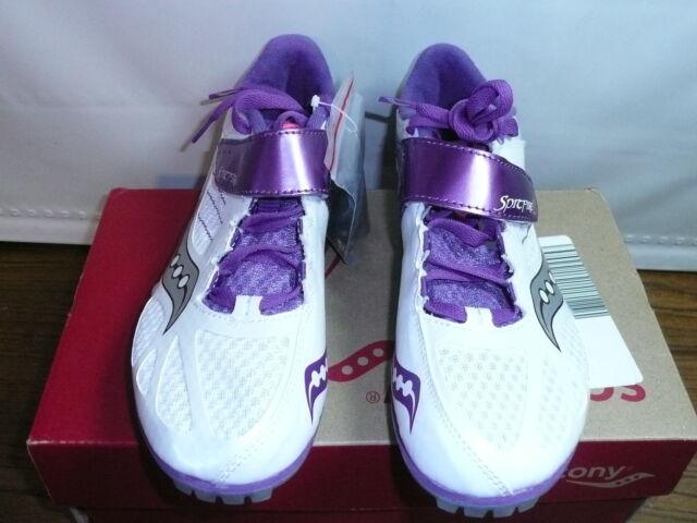 961efe1966cb Saucony Womens Spitfire 2 Track Shoe White purple 8 M US
