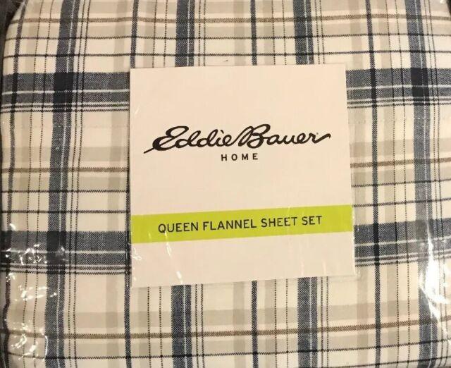 Brushed Cotton Flannel King Size 4-Pcs Eddie Bauer School of Fish Bed Sheet Set