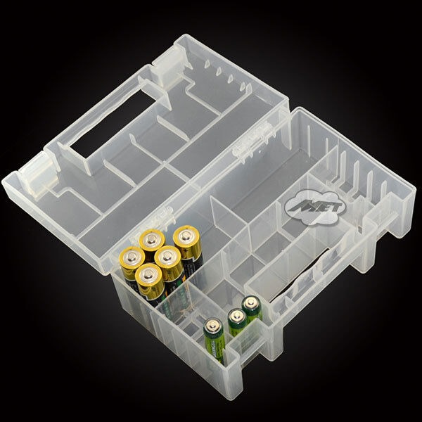 Translucent Hard Plastic Case Holder Storage Box for AA AAA C battery Top