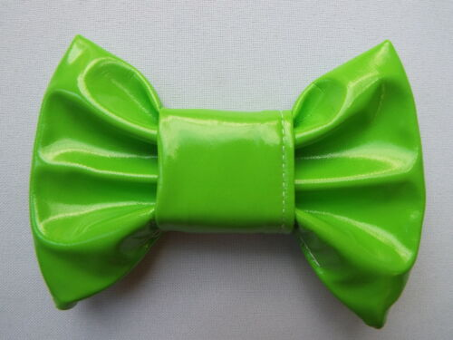GREEN PVC SHINY LEATHER LOOK 4 INCH HAIR BOW ALLIGATOR CLIP LADIES GIRLS NEW