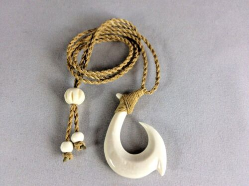 Hawaiian Fishhook Necklace Carved From Buffalo Bone 2 tall.With Adjustable cord