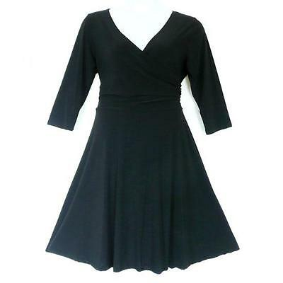 D15 - Plus Size V-Neck 3/4 Sleeves Wrap Evening Career Dress Black 1X 2X 3X