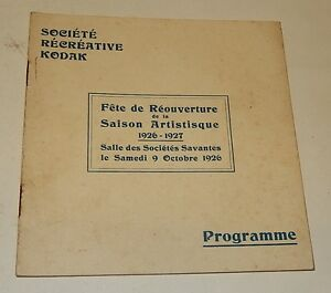 Programme-Societe-Recreative-KODAK-1926-Clowns-FRATELLINI-Grand-BAL-de-NUIT