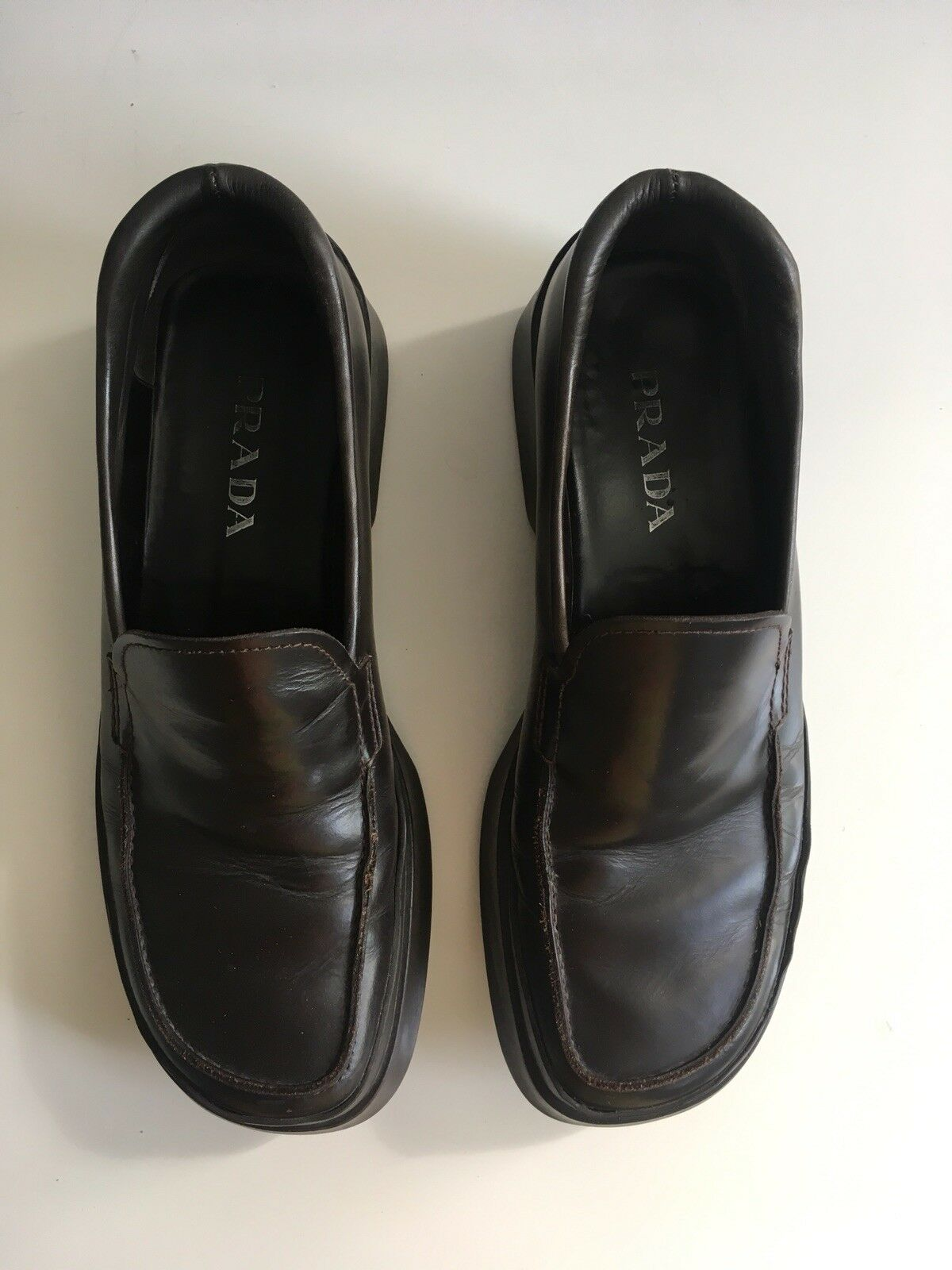PRADA Chocolate Thick Sole Loafers Sz 9.5 made in Italy