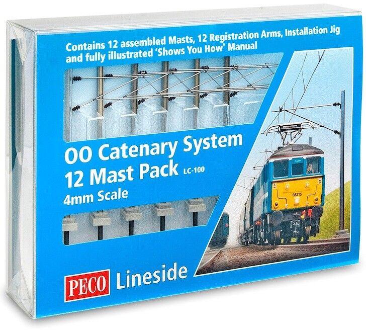 Peco LC-100 - Catenaria System 12 Mástil Startup Paquete - Calibre 00 4mm Escala