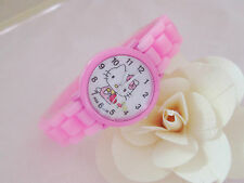Kids Girls Hello Kitty Pink Wrist Watch Analog Silicone Strap Water Proof S