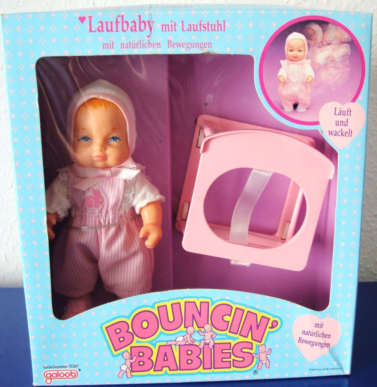 Bouncin Babies - Puppe - Laufbaby mit Laufstuhl 1989 Galoob absolut NEU und NRFB