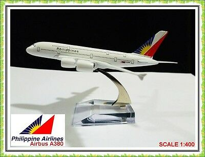 16cm AIRBUS JUMBO A380 PHILIPPINES AIRLINES AEROPLANE METAL PLANE MODEL TOY GIFT