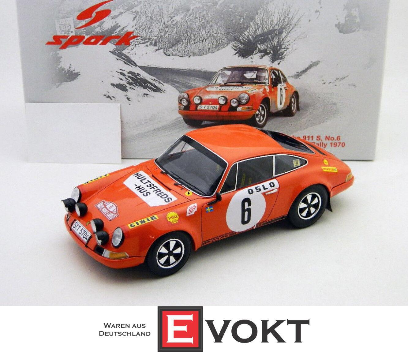 Porsche 911 S Rallye Monte Carlo 1970 Björn WALDEGARD 1 18 Spark 18S029 NEUF