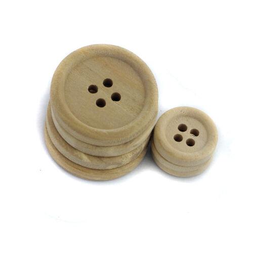 50 runde Knöpfe aus Naturholz 15//20//25 mm Gemischte Verzierung Bastelnähen