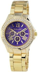 Excellanc-Damenuhr-Blau-Gold-Strass-Chrono-Look-Metall-Armbanduhr-X152103000110