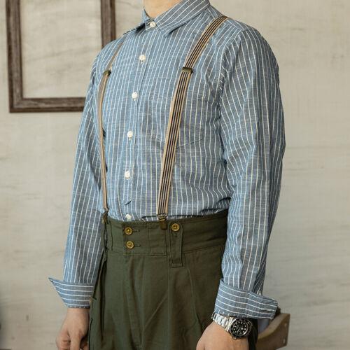 1930s Men's Fashion Guide- What Did Men Wear?   Red Tornado Vintage Candy Stripe Shirts Blue & White Mens Button Down Workwear $55.99 AT vintagedancer.com