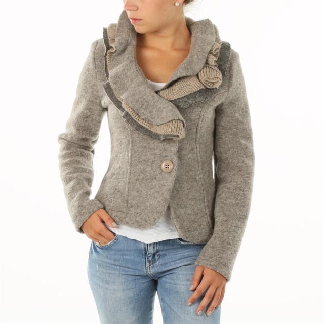 ITALY Damen Walk Blazer Jacke Volant Kragen Walkjacke NOUGAT melange braun