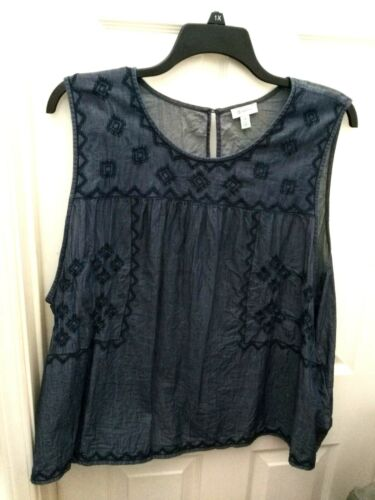 SUSINA Embroidered Chambray Sleeveless Blouse Top