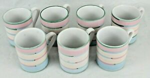 Lot-of-7-Vintage-Caleca-Cabana-Hand-Painted-Signed-Ceramic-Ear-Handle-Mug-Cups