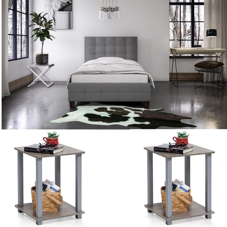 3 Piece Bedroom Set Furniture Full Size Modern Nightstands Grey