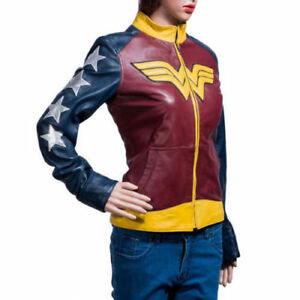Ladies Jacket Stylish Leather Palicki Adrianne Woman Wonder Costume Halloween qYBzw1