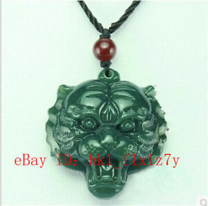 Natural HeTIan Jade Dragon Phoenix Collier Pendentif Charme Bijoux Lucky amulet