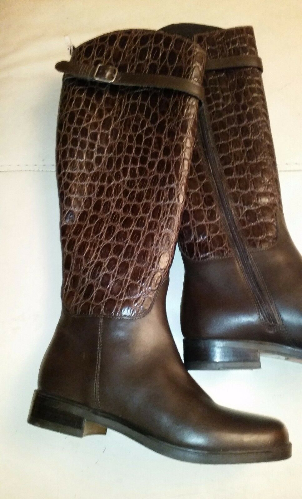 Knee High brown crocodile real genuine leather Boots low heel zipper up sz 6 new