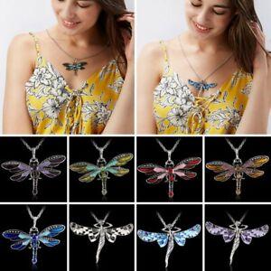Crystal Animal Dragonfly Enamel Sweater Chain Necklace Women Girls Charm Jewelry