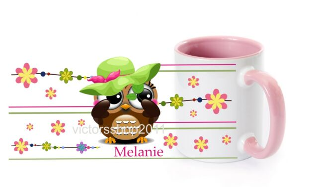 Tasse-Becher rosa Henkel Eule Hut mit Wunschname Geschenk