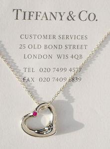 Elsa Peretti Open Heart pendant in sterling silver with a pink sapphire Tiffany & Co. dwIbeJV