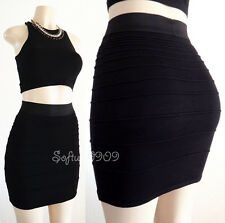 NEW RED or BLACK Elastic Waistband Fitted Stretch Knit SEXY Bandage Pencil Skirt