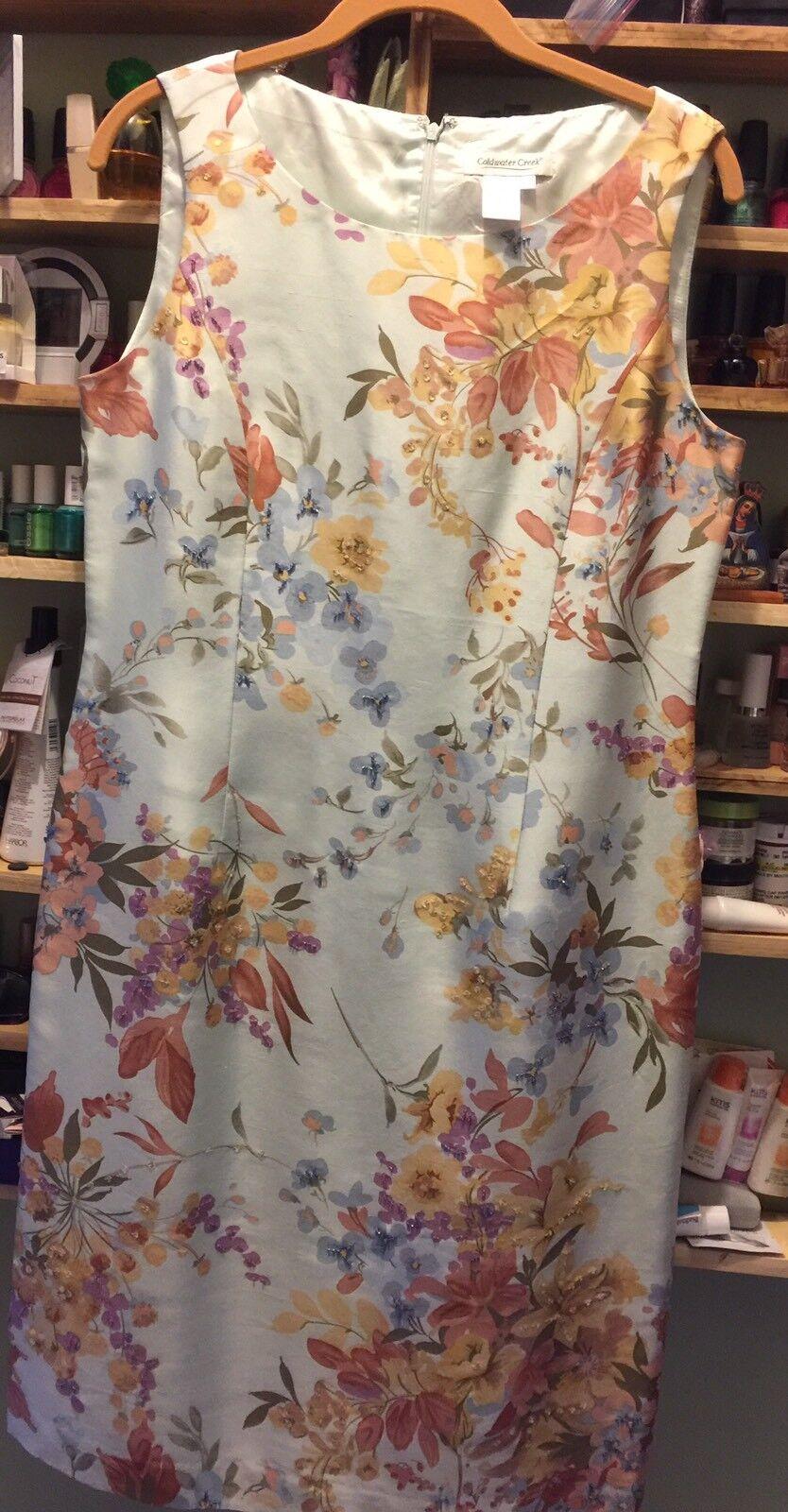 Coldwater Creek 100% Silk Dress  Mint  with  floral Farbeful gorgeous Größe 10
