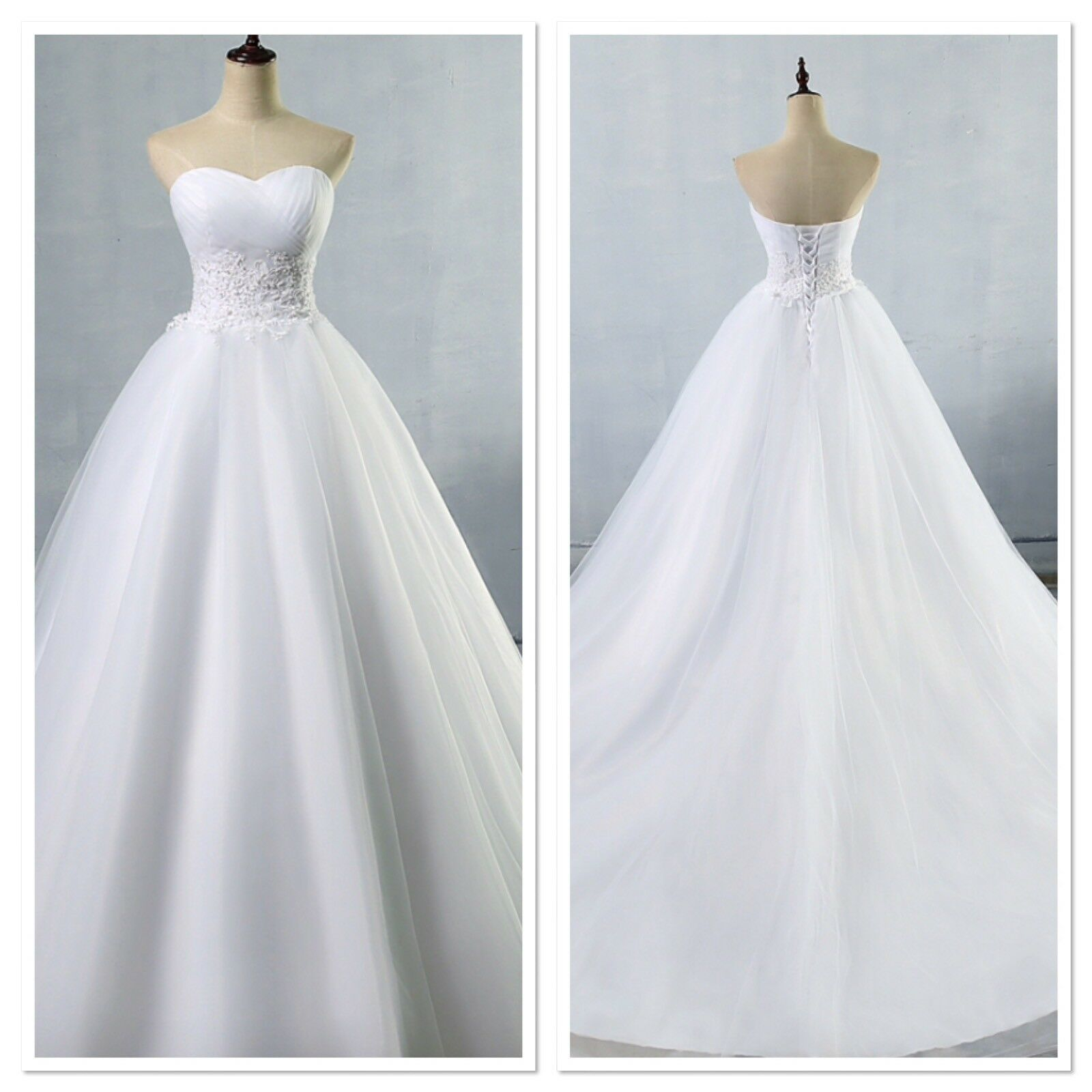 UK Plus Size White/Ivory Strapless Sweetheart A Line Wedding Dresses Size 6-26