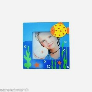 Baby Kids Photo Frame Wooden 4.25x4.25 Blue Sea Ocean Fish Table Top Picture