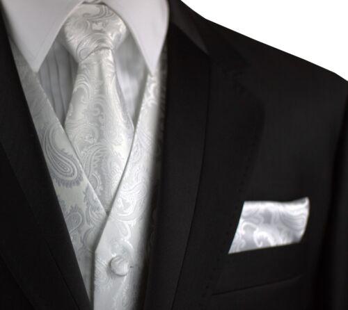 MEN/'S WHITE PAISLEY FORMAL TUXEDO VEST FORMAL PROM TIE /& HANKIE SET WEDDING