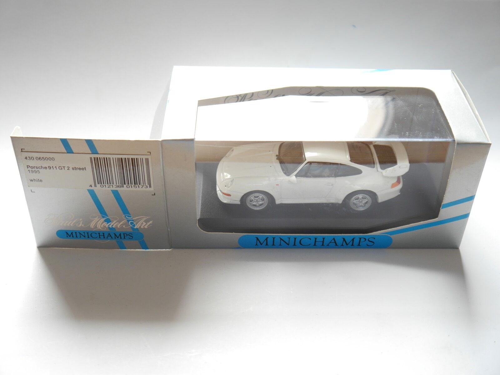 Porsche 911 gt2 street 1995 in weiss weiß, minichamps 430065000 1 43 boxed minze