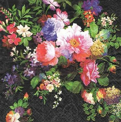 2 single paper napkins for decoupage crafts or collection Pretty Flowers Bouquet