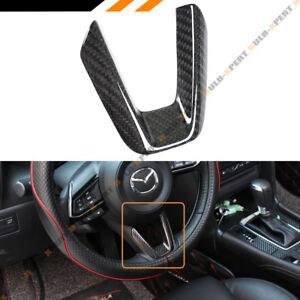 3Pcs Carbon Fiber Steering Wheel Panel Cover Trim Fit For MAZDA CX-5 2017 2018
