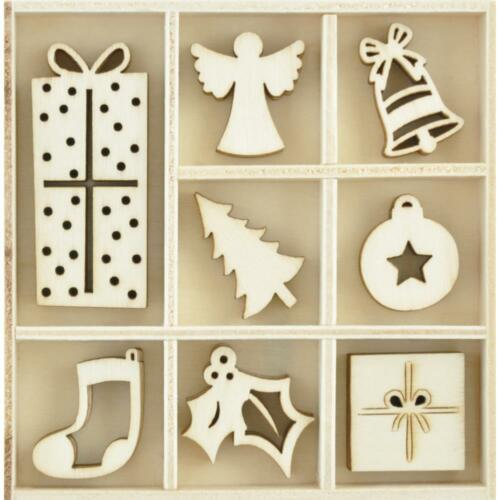 Kaisercraft Wooden Flourish Pack Ornaments 40pcs FL634 Peace /& Joy Christmas