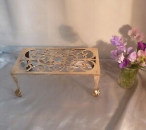 Victorian-Large-Brass-Trivet-Stand-with-Pierced-Design-and-Ball-and-Claw-Feet
