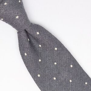 Gladson-Mens-Wool-Silk-Necktie-Gray-White-Loose-Woven-Polka-Dot-Tie-Italy-Soft