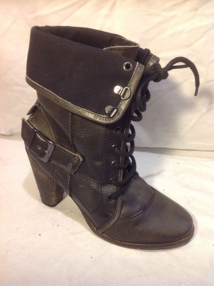 Crafted Dark Brown Ankle Leather Boots Size 6